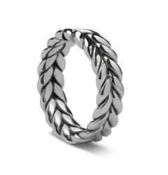 Braided White Gold Ring by Sossi - 7mm