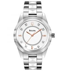 Men's & Ladies' Diamond Watch Silver-White Face Two Tone Band by Bulova