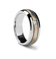 Dual Grooved Two-toned Gold Ring by Sossi - 7mm