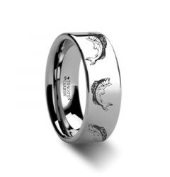 Bass Fish Jumping Sea Print Pattern Ring Engraved Flat Tungsten Ring - 4mm - 12mm