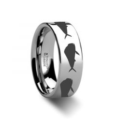 Mahi Fish Jumping Sea Print Pattern Ring Engraved Flat Tungsten Ring - 4mm - 12mm