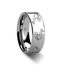 Trout fish Jumping Sea Print Pattern Ring Engraved Flat Tungsten Ring - 4mm - 12mm