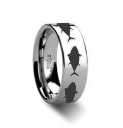 Tuna fish Jumping Sea Print Pattern Ring Engraved Flat Tungsten Ring - 4mm - 12mm