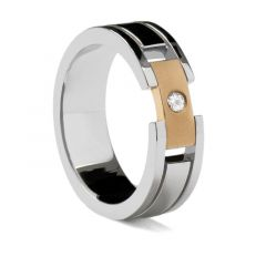 Grooved White Gold Ring with Rose Gold Buckle by Sossi - 7mm