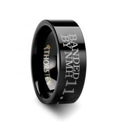 Duck Band Ring Engraved Flat Black Tungsten Ring Polished- 4mm - 12mm