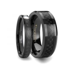 Matching Rings Set Black Carbon Fiber Inlaid Black Ceramic Wedding Band - 4mm & 8mm