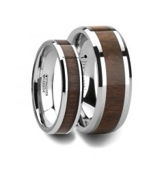 Matching Rings Set Tungsten Wedding Band with Bevels and Black Walnut Wood Inlay - 6 mm - 8 mm