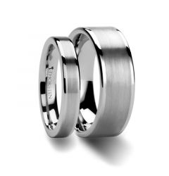 Matching Rings Set Flat Brush Finish Center Tungsten Carbide Ring - 4mm & 8 mm