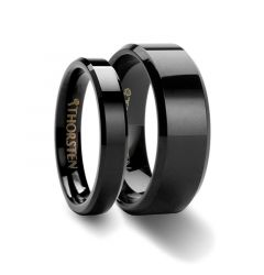 Matching Rings Set Black Tungsten Wedding Ring with Beveled Edges - 4mm & 8mm