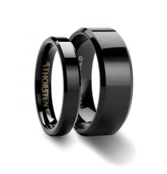 SEATTLE & SACRAMENTO Matching Rings Set Black Tungsten Wedding Ring with Beveled Edges - 4mm & 8mm