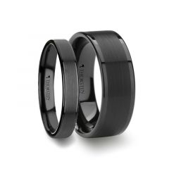 Matching Rings Set Flat Black Tungsten Ring with Brushed Center & Polished Edges - 4mm  & 8mm