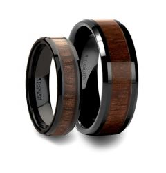 Matching Rings Set Beveled Black Ceramic Ring with Black Walnut Wood Inlay - 6mm, 8mm, 10mm, & 12mm