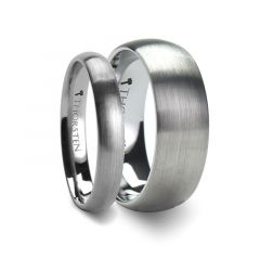 Matching Rings Set Domed with Brushed Finish Tungsten Band - 4mm & 8 mm