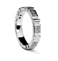 Ladies' Carved White Gold Ring with 12 Diamonds by Sossi - 4 mm