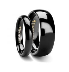 Matching Rings Set Domed Black Tungsten Wedding Ring - 4mm & 8 mm
