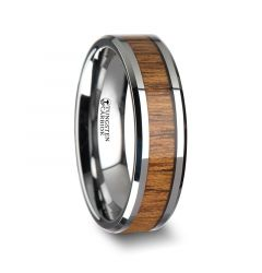TEKKU Wood Tungsten Ring with Polished Bevels and Teak Wood Inlay - 6 mm - 10 mm