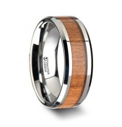 BRUNSWICK Tungsten Wedding Ring with Polished Bevels and Black Cherry Wood Inlay - 6mm - 10mm