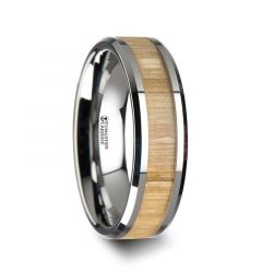 SAMARA Tungsten Ring with Polished Bevels and Ash Wood Inlay - 6 mm - 10 mm