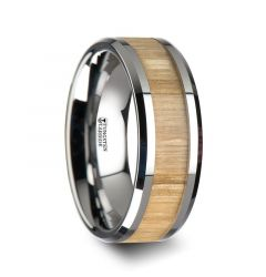 SAMARA Tungsten Ring with Polished Bevels and Real Wood Ash Wood Inlay - 6mm - 10mm