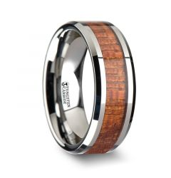 KHAYA Tungsten Band with Polished Bevels and Exotic Mahogany Hard Wood Inlay - 4mm - 10mm