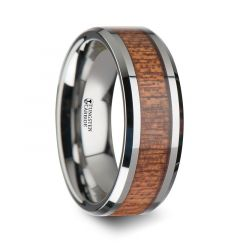 CONGO Tungsten Wedding Band with Polished Bevels and African Sapele Wood Inlay - 6mm - 10mm