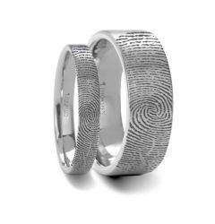 Matching Rings Set Fingerprint Engraved Flat Pipe Cut Tungsten Ring Brushed Ring - 4mm & 8mm