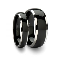 Matching Ring Set Domed Black Ceramic Inlaid Tungsten Wedding Band - 6mm - 10mm