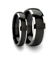 Matching Rings Set Domed Black Ceramic Inlaid Tungsten Wedding Band - 6 mm & 8mm