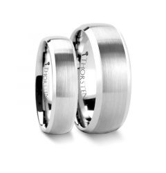 Matching Rings Set Domed Brushed Finish Tungsten Ring with Polished Bevels - 6mm & 8mm