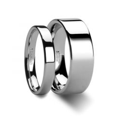 Matching Rings Set Flat Style White Tungsten Ring - 4 mm & 8 mm