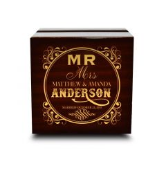 Dark Chocolate Wood Personalized Engraved Wooden Wedding Ring Box