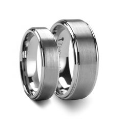 Matching Rings Set Raised Center with Brush Finish Tungsten Ring - 6mm & 8mm