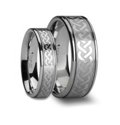 PALLAS Matching Rings Set Celtic Knot Laser Engraved Tungsten Wedding Ring - 6mm, 8mm, & 10mm