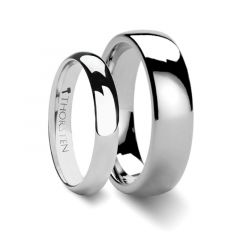 Matching Rings Set Domed White Tungsten Wedding Band - 4 mm & 8mm