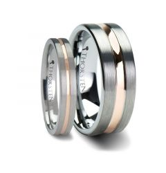 Matching Rings Set Flat Brush Finished Tungsten Carbide Ring with Rose Gold Plated Groove Center - 4mm & 8mm