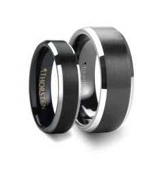 Matching Rings Set Black Brushed Center Tungsten Wedding Ring with Polished Beveled Edges - 4mm & 8mm