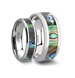 Matching Rings Set Tungsten Wedding Band with Mother of Pearl Inlay - 6 mm & 8 mm