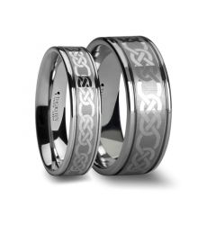 Matching Rings Set Celtic Pattern Laser Engraved Tungsten Wedding Band 6 mm & 8 mm