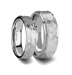 Matching Rings Set White Tungsten Ring with Raised Hammered Finish and Polished Step Edges - 6mm & 8mm