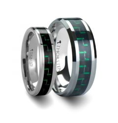 Matching Rings Set Tungsten Carbide Wedding Band with Black & Green Carbon Fiber Inlay - 6mm & 8mm