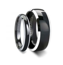 MASERATI Matching Rings Set Domed Black Tungsten Band with Polished Beveled Edges - 4mm & 8 mm