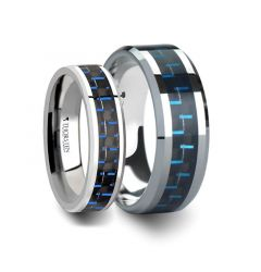Matching Rings Set Tungsten Carbide Ring with Black & Blue Carbon Fiber Inlay - 6 mm & 8 mm