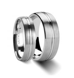Matching Rings Set Domed Center Groove Tungsten Carbide Ring with Brush Finish - 6mm & 8 mm
