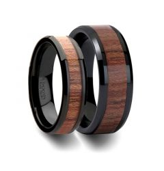 Matching Rings Set Black Ceramic Wedding Band with Bevels and Rosewood Inlay - 6mm & 8mm