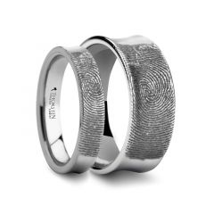 Matching Rings Set Fingerprint Engraved Concave Tungsten Ring Polished- 4mm & 8mm