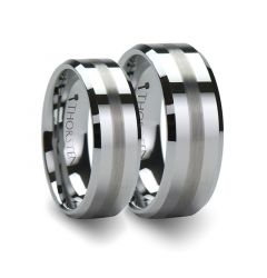 Matching Ring Set Flat Beveled Tungsten Wedding Band with Brushed Stripe - 6mm & 8mm