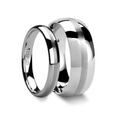 Matching Ring Set Domed White Tungsten Ring with Satin Stripe - 4mm & 8mm