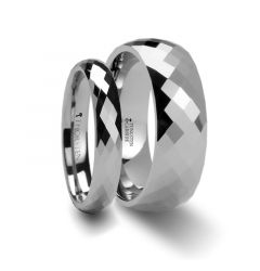 Matching Ring Set 288 Diamond Faceted Tungsten Band - 4 & 8 mm