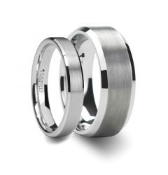PETERSBU Matching Ring Set Brushed Center White Tungsten Ring with Beveled Edges - 4mm& 8mm