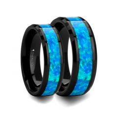 Matching Ring Set Black Ceramic Ring with Blue Green Opal Inlay - 6 mm & 8mm